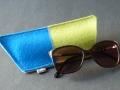 Brillenhülle aus Filz, blau und grün