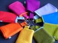 Schlüsselsäcke aus Wollfilz in verschiedenen Farben